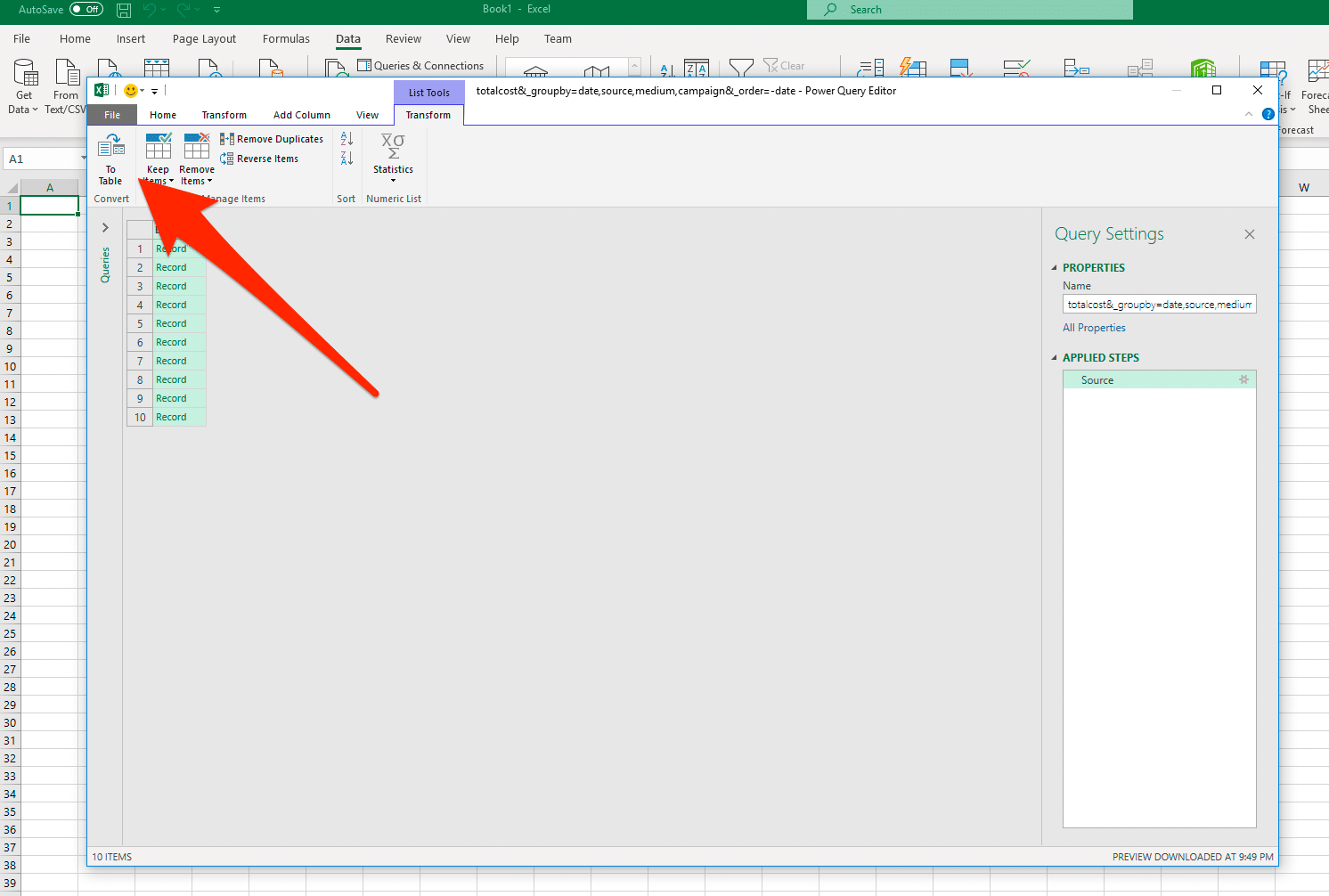excel integration step 2